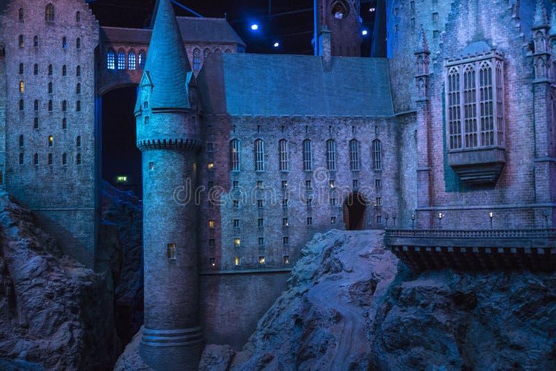 Hogwarts slottmodell på Warner Bros Studios arkivfoto