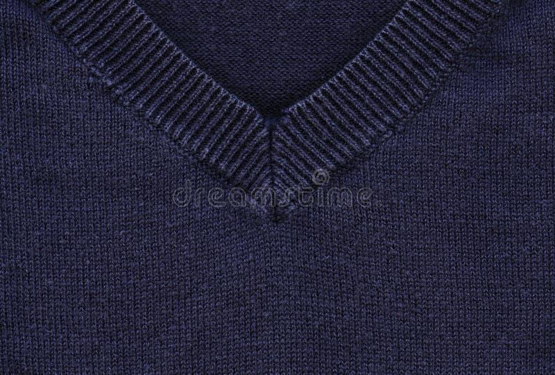 Baumwollgewebe-Beschaffenheit - Marine-Blau mit Kragen stockbilder