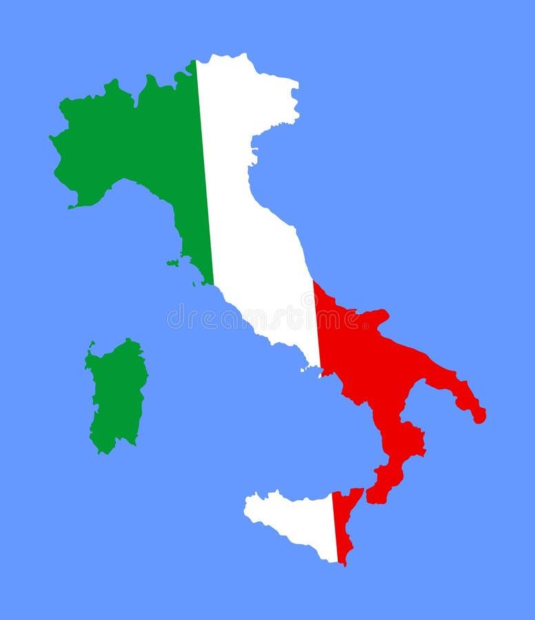 Hohe ausführliche Italien-Vektorkarte mit Flagge über Karte lizenzfreie abbildung