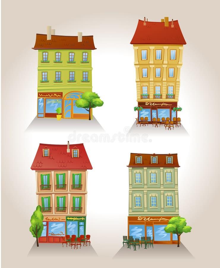 Hohe ausführliche Vektorgebäude. stock abbildung