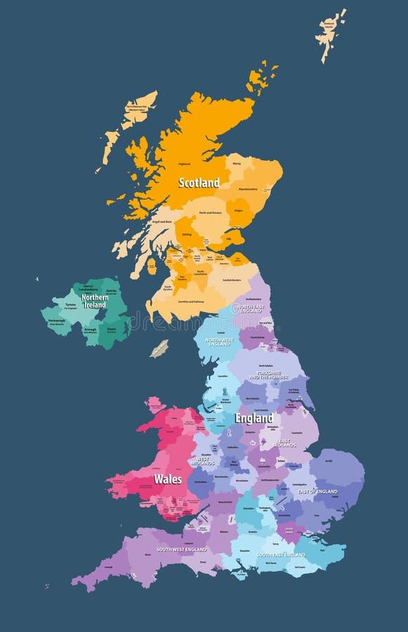 Hohe ausführliche Vektorkarte Vereinigten Königreichs mit Verwaltungsabteilungsgrenzen vektor abbildung