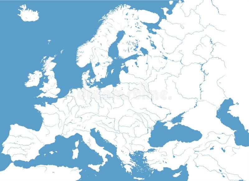Hohe ausführliche Vektorkarte von Europa-Hauptleitungsflüssen lizenzfreie abbildung