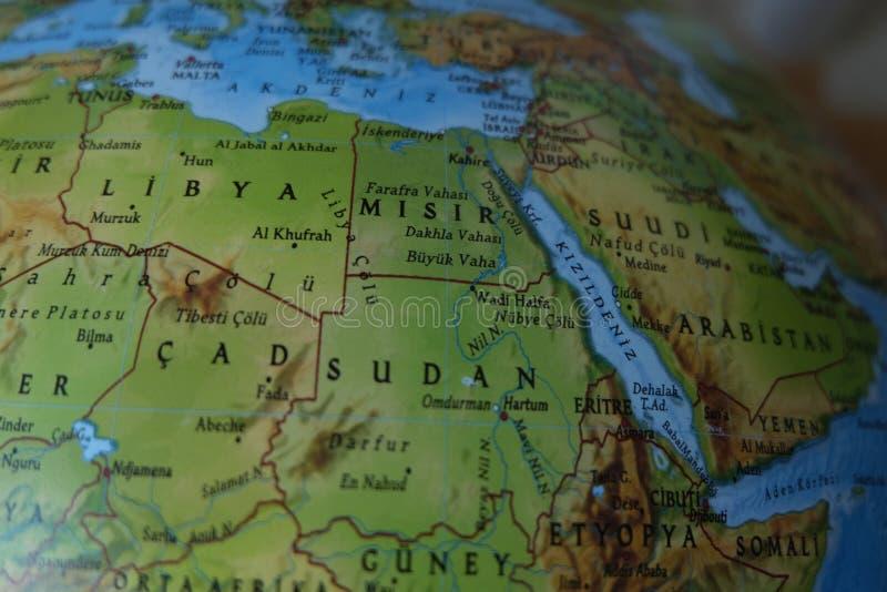Hohe ausf?hrliche k?rperliche Karte Afrikas mit der Kennzeichnung stockfotos