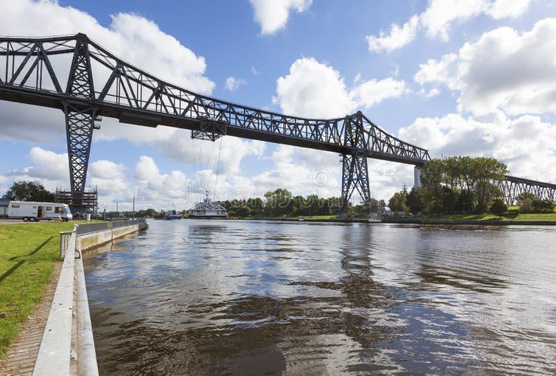 Hohe Brücke Rendsburg über Kiel Canal lizenzfreie stockfotos