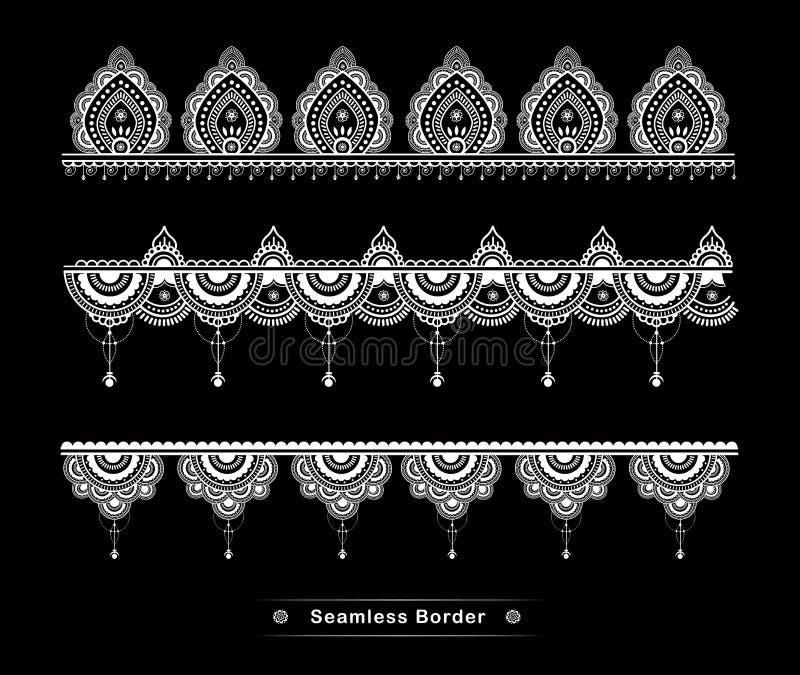 Hohe Details des nahtlosen Mandalagrenzentwurfs lizenzfreie abbildung