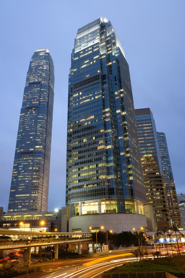 Hohe Handelsgebäude bei zentralem Hong Kong lizenzfreies stockbild