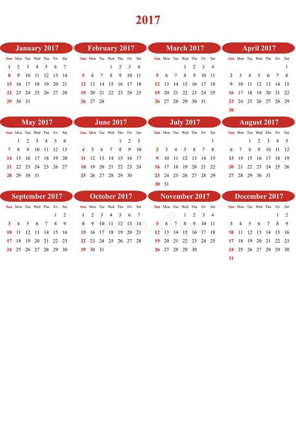 Hohe Mohnblume färbte klar farbigen einfachen Kalender 2016 lizenzfreie abbildung