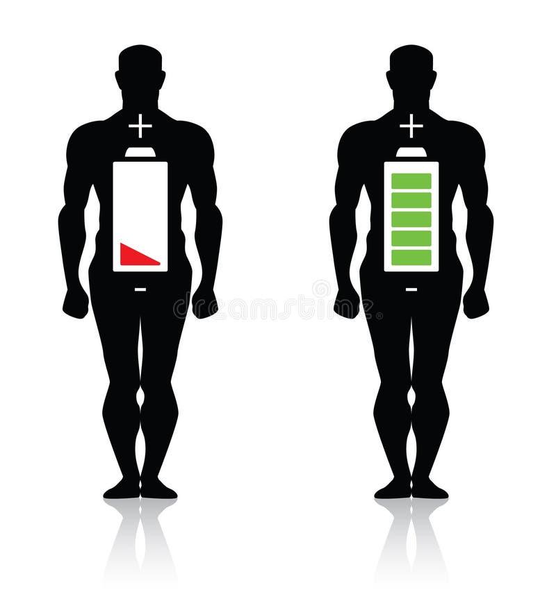 Hohe niedrige Batterie des menschlichen Körpers getrennt lizenzfreie abbildung