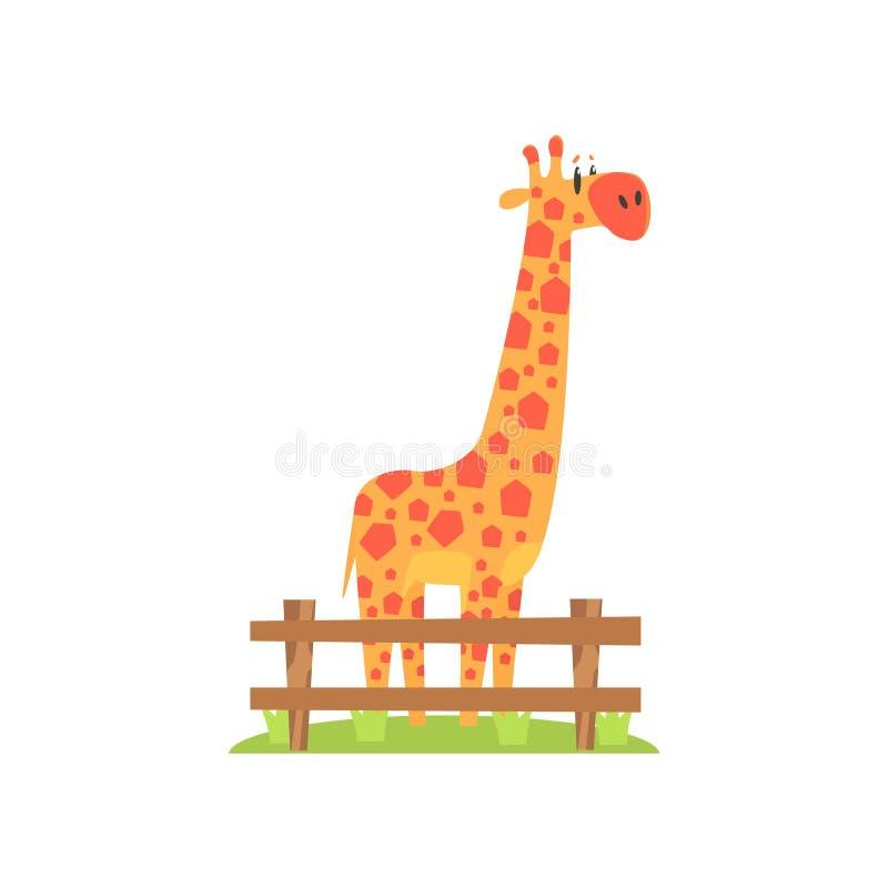 Hohe orange Giraffe mit Hexahedron formte die Stellen, die auf grünes Gras-Flecken in der Freilicht-Zoo-Einschließung stehen vektor abbildung