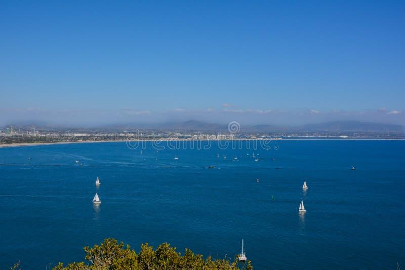 Hohe Panorama-Ansicht Bayside an Cabrillo-Monument in San Diego lizenzfreie stockfotos