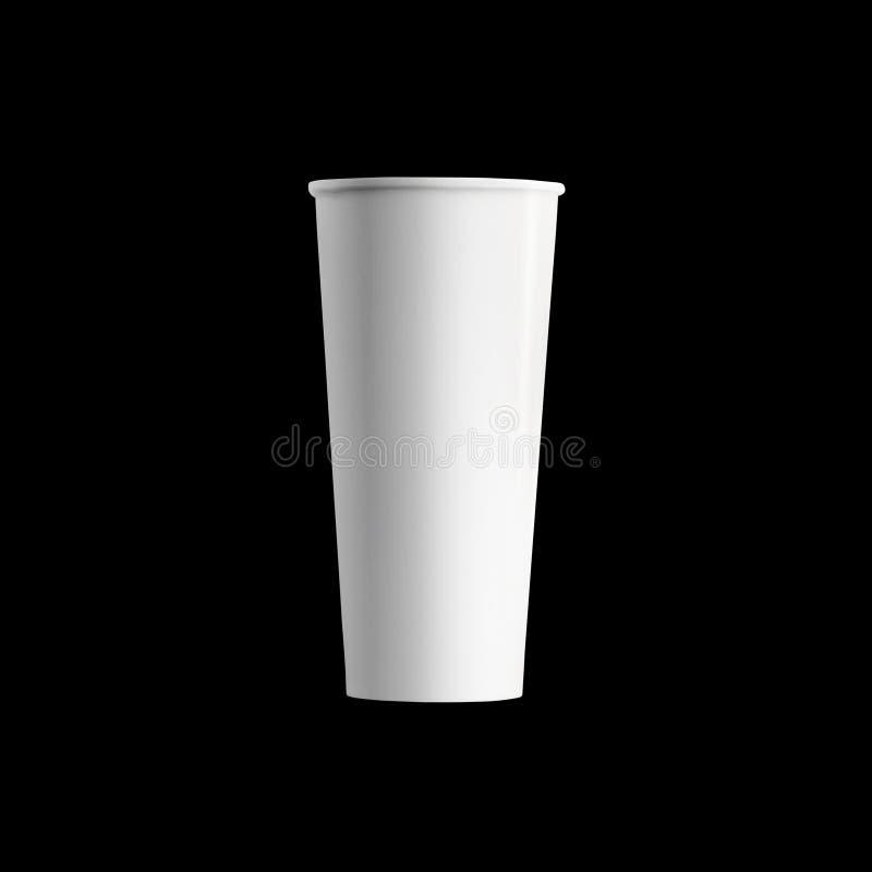 Hohe Papierkaffeetasse, lokalisiert über schwarzem Hintergrund lizenzfreie stockfotos