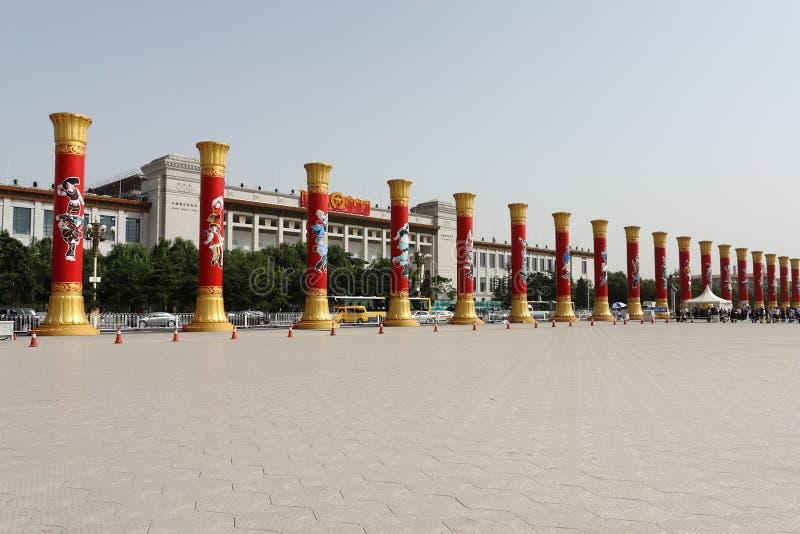 Hohe Pfosten für 60. Jahrestag China stockbild