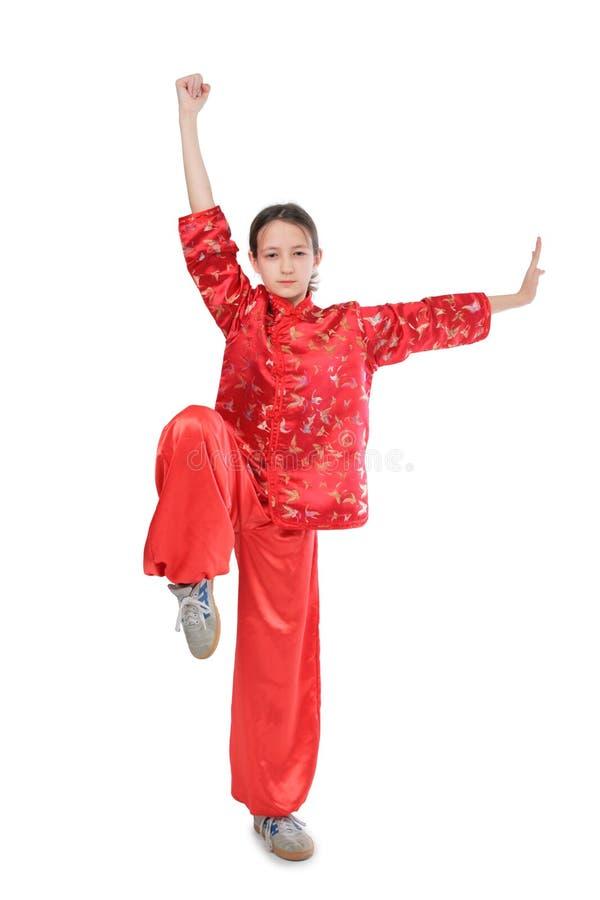 Hohe Position des Kung fu Mädchens stockfotografie