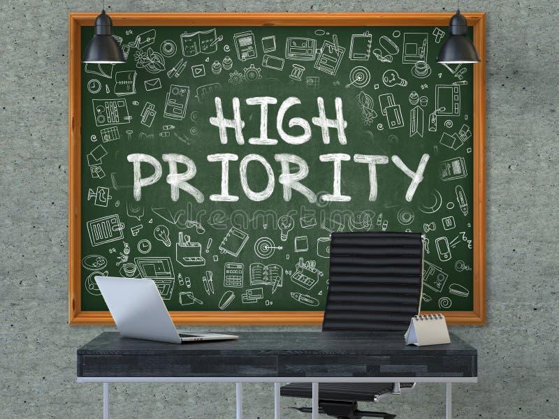 Hohe Priorität auf Tafel mit Gekritzel-Ikonen 3d stockfoto