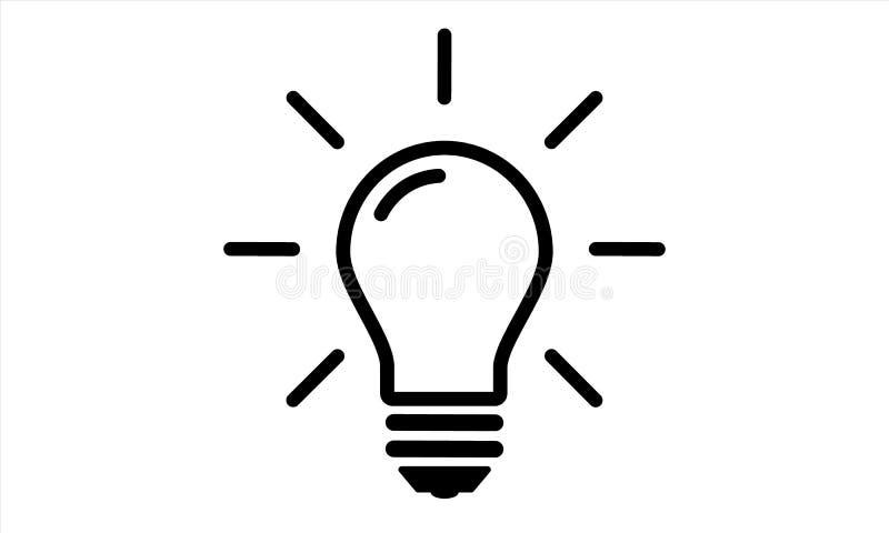 Hohe Qualität des Glühlampeikonenschwarzen flach lizenzfreie abbildung