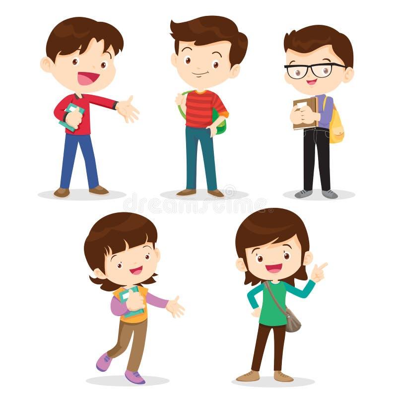 Hohe Schüler Junge und Mädchen vektor abbildung
