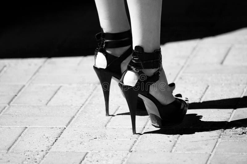 Hohe Schuhe der Frauen stockfoto