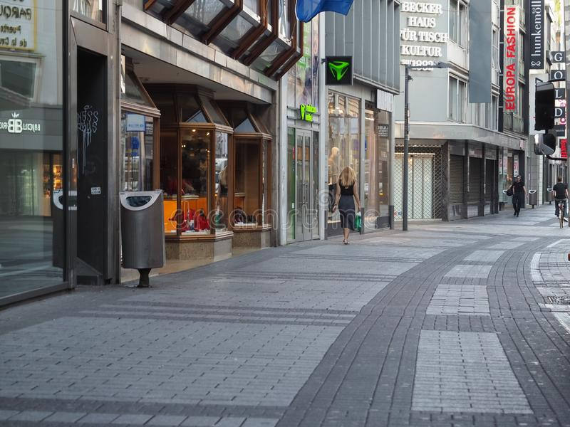 Hohe Strasse (High Street) shopping street in Koeln. KOELN, GERMANY - CIRCA AUGUST 2019: People in Hohe Strasse (meaning High Street) shopping street stock images