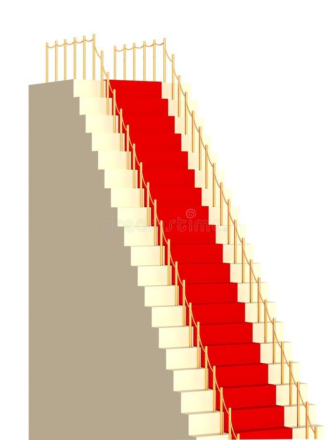 hohe Strichleiter 3d, abgedeckt mit einem roten Teppich stock abbildung