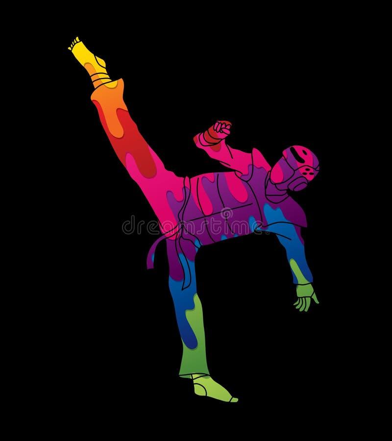 Hohe Trittaktion Taekwondos mit Schutzausrüstung lizenzfreie abbildung