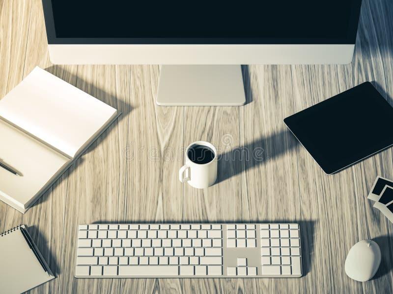 Hohe Winkelsicht einer Einstellungstabelle des Geschäftsarbeitsplatzes vektor abbildung