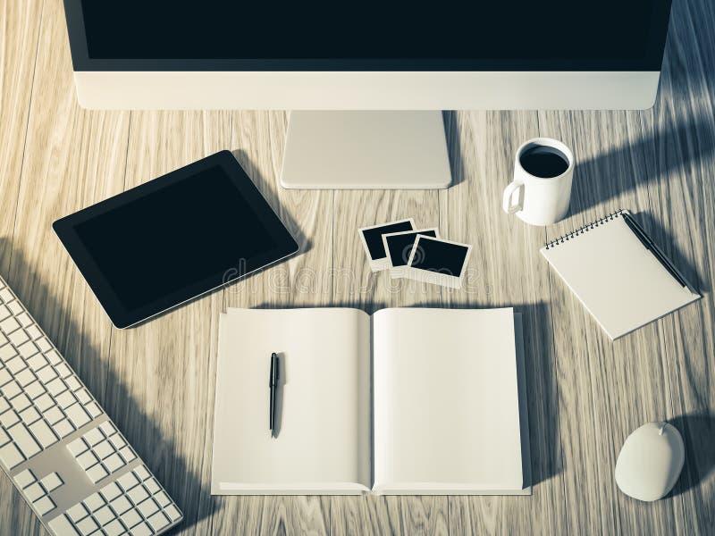 Hohe Winkelsicht einer Einstellungstabelle des Geschäftsarbeitsplatzes lizenzfreie abbildung