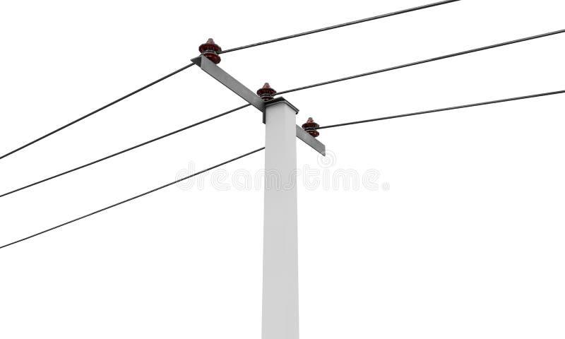 Hohe Winkelsicht eines 3D übertrug Strommast auf einem weißen Hintergrund stock abbildung
