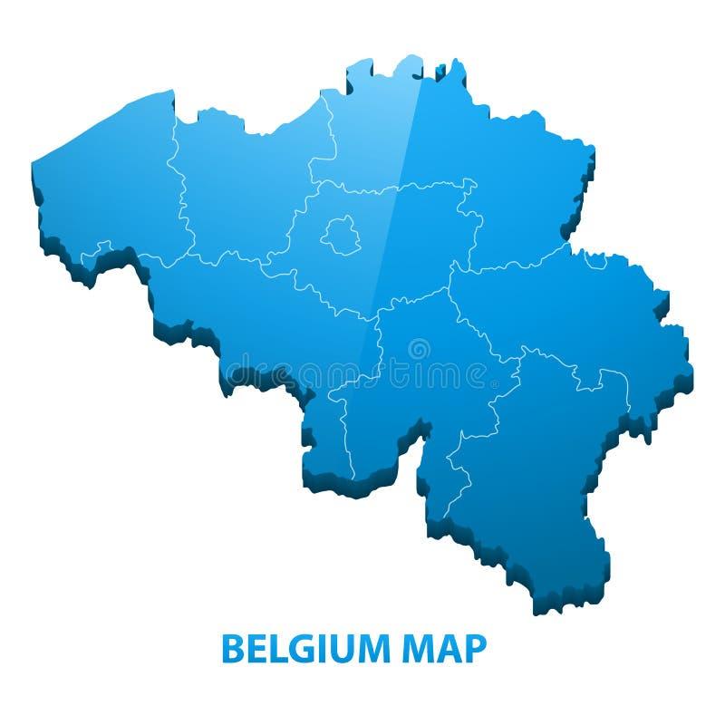 In hohem Grade ausführliche dreidimensionale Karte von Belgien mit Regionsgrenze stock abbildung