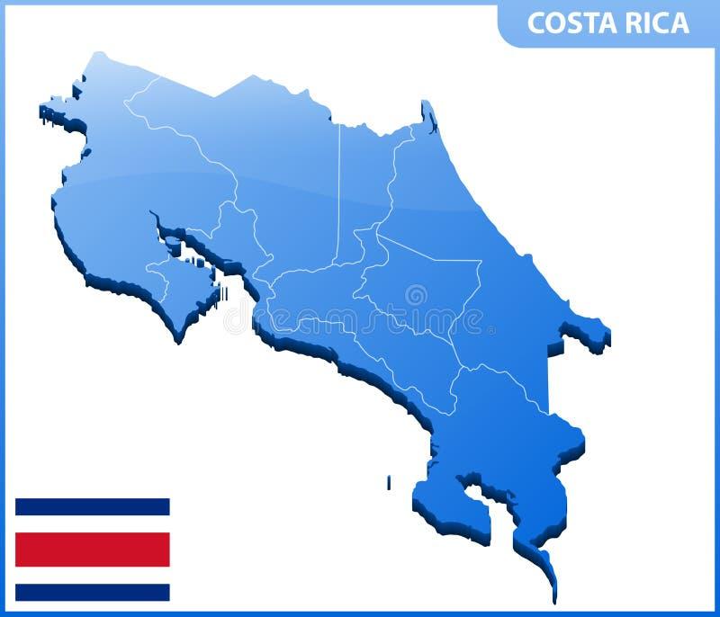 In hohem Grade ausführliche dreidimensionale Karte von Costa Rica Verwaltungsabteilung stock abbildung