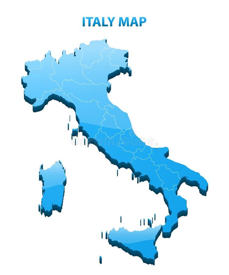 In hohem Grade ausführliche dreidimensionale Karte von Italien stock abbildung