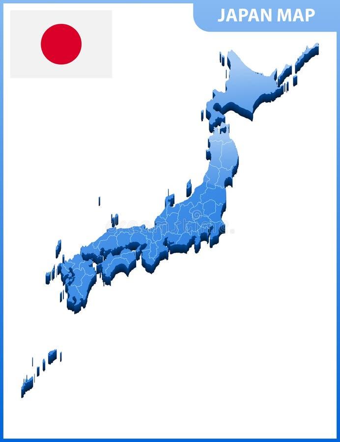 In hohem Grade ausführliche dreidimensionale Karte von Japan Verwaltungsabteilung vektor abbildung