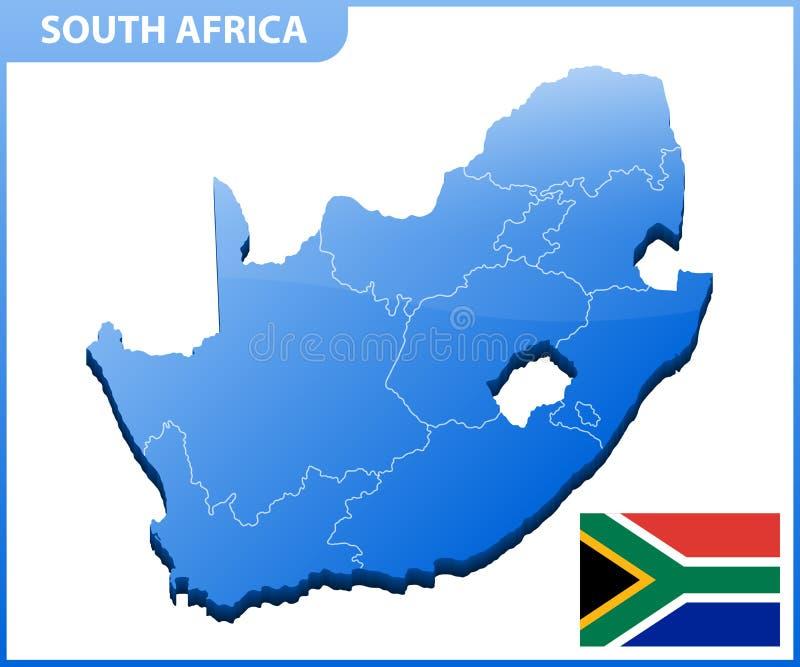 In hohem Grade ausführliche dreidimensionale Karte von Südafrika Verwaltungsabteilung vektor abbildung