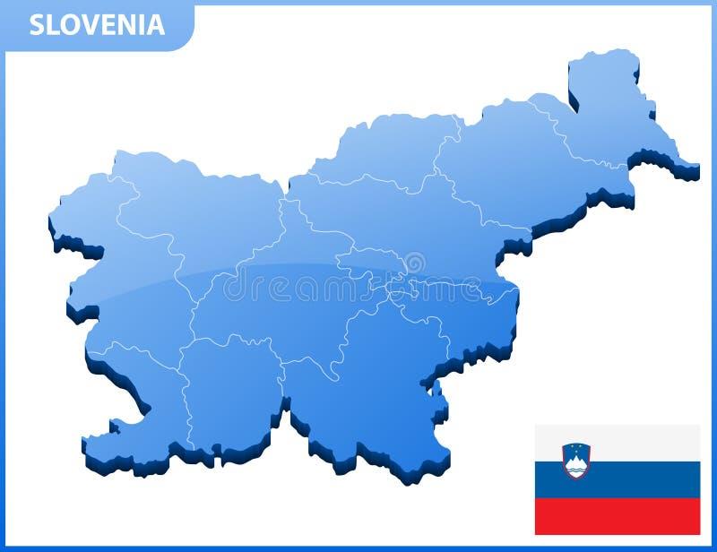 In hohem Grade ausführliche dreidimensionale Karte von Slowenien Verwaltungsabteilung vektor abbildung