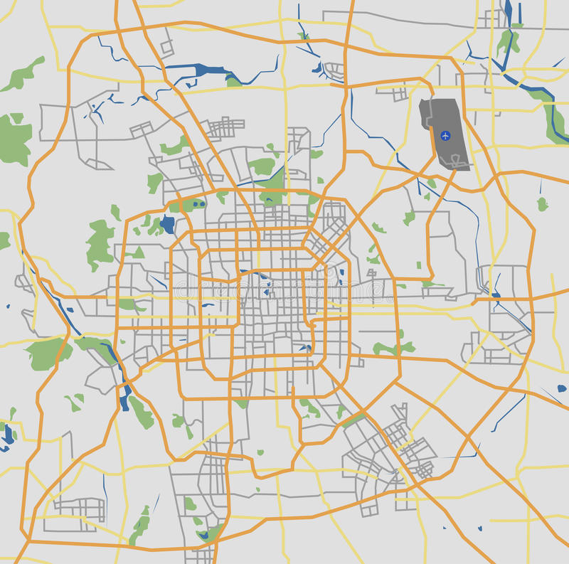 In hohem Grade ausführliche Netz-Karte Pekings City Road stock abbildung