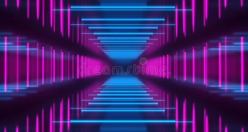 In hohem Grade reflektierender dunkler futuristischer leerer Raum Sci FI mit viel O stock abbildung
