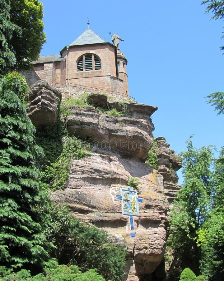 Hohenburgabdij, Mont Sainte-Odile royalty-vrije stock foto