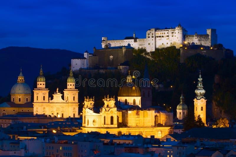 Hohensalzburg城堡和萨尔茨堡主教座堂在德国 免版税库存图片
