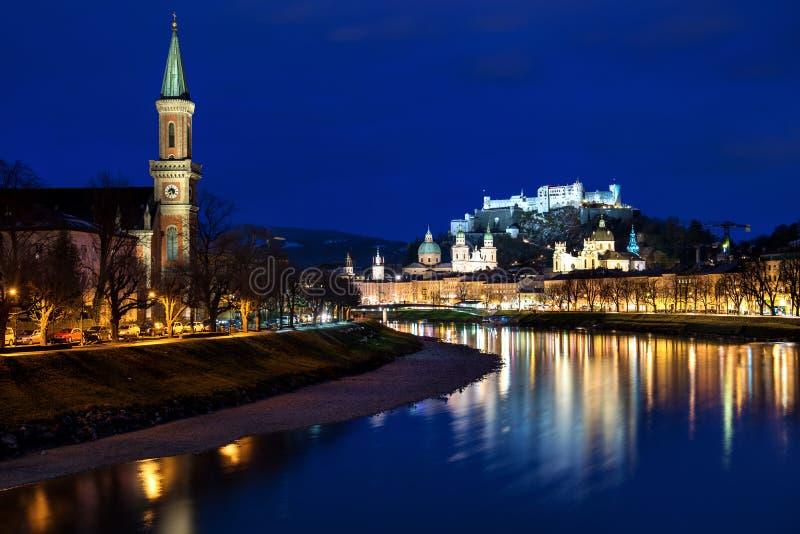 Hohensalzburg城堡和萨尔茨堡主教座堂在德国 图库摄影