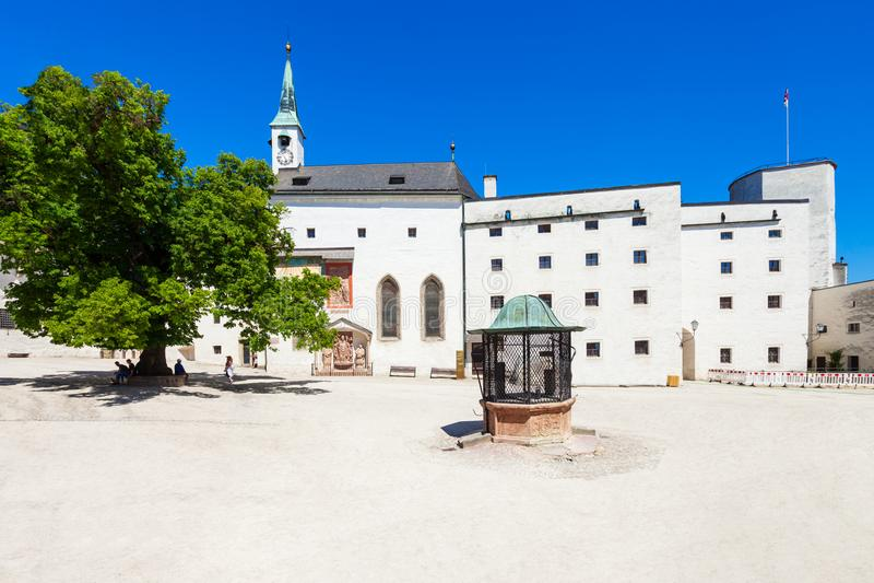Hohensalzburg城堡在萨尔茨堡 免版税库存图片