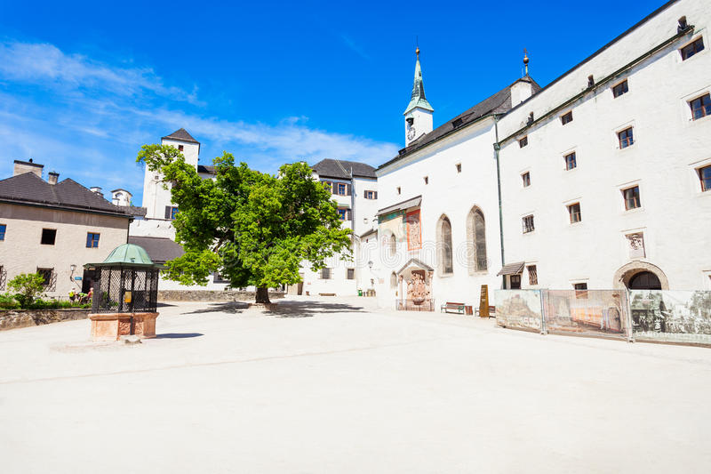 Hohensalzburg城堡在萨尔茨堡 库存图片