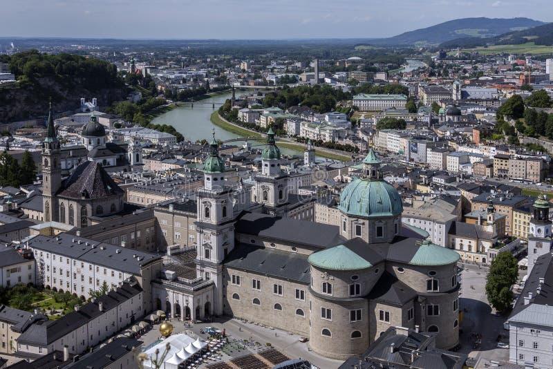 从Hohensalzburg城堡-萨尔茨堡-奥地利的看法 免版税库存照片