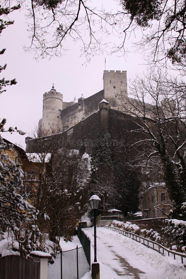 Hohensalzburg堡垒老城堡在萨尔茨堡 库存照片