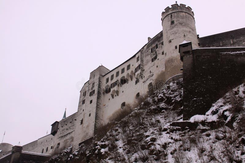 Hohensalzburg堡垒老城堡在从轰鸣声看见的萨尔茨堡 免版税图库摄影