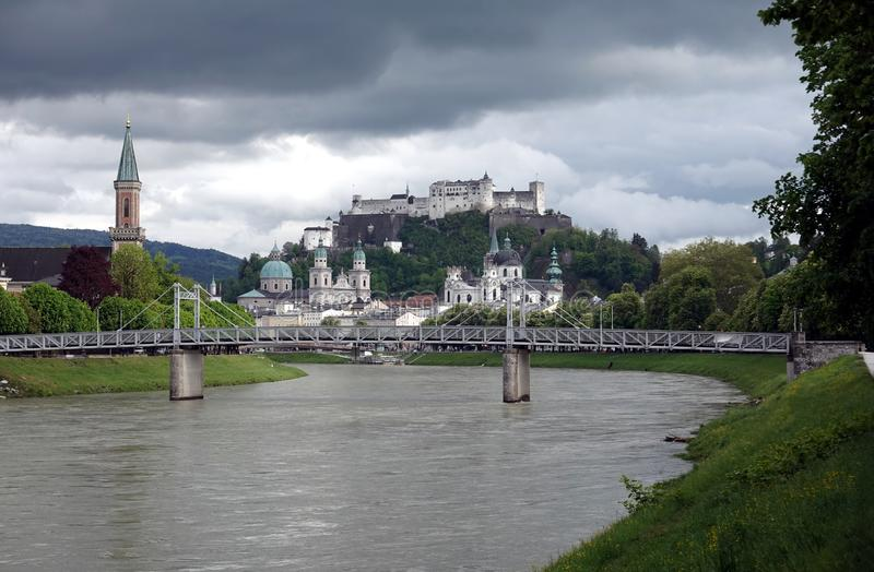 Hohensalzburg fortress on Festung mountain in Salzburg, Austria on bad weather stock images