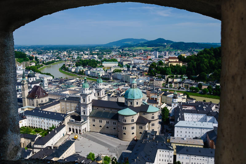 Hohensalzburg slott, Salzburg, Österrike arkivfoton