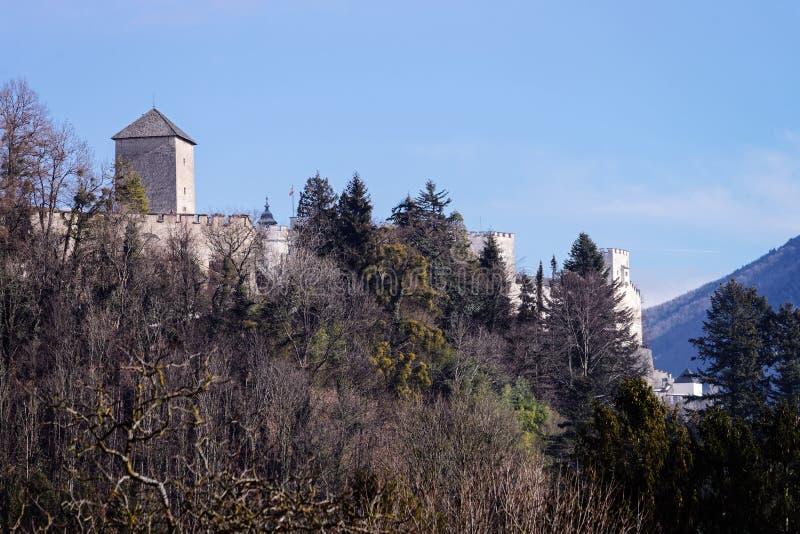 Hohensalzburgkasteel in Salzburg in Oostenrijk stock afbeelding