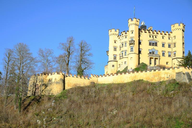 Hohenschwangau城堡在菲森的早期的冬天 库存图片