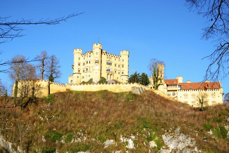 Hohenschwangau城堡在菲森的早期的冬天 库存照片