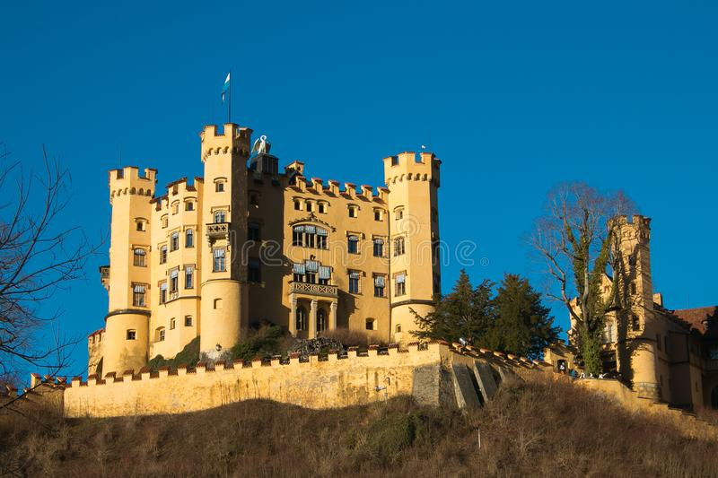 Hohenschwangau Castle schloss on winter day with blue sky, Bavaria, Germany royalty free stock photography