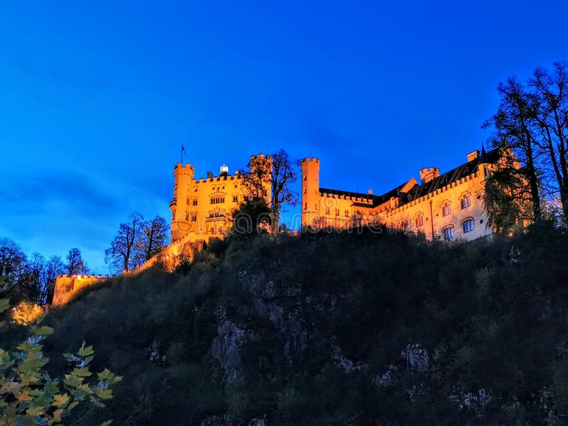Hohenschwangau castle at twilight stock photography